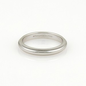 Tiffany & Co. Platinum Double Milgrain Wedding Band Ring Size 4.25