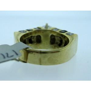 18K YELLOW GOLD ONYX DIAMONDS LADIES RING SIZE 4.5