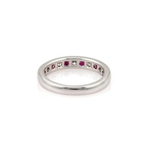 Tiffany & Co. 950 Platinum with 0.35ct Ruby & Diamond Band Ring Size 4