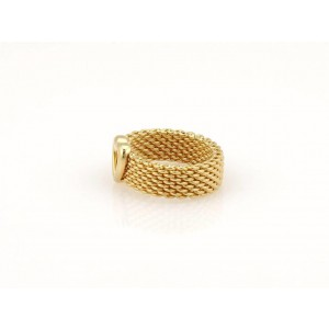 Tiffany & Co. Somerset 18K Yellow Gold Mesh Heart Band Ring Size 5