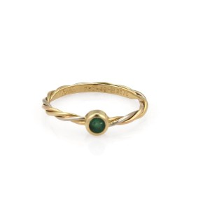 Cartier 18K Yellow, White and Rose Gold with Emerald Ring Size 4.75