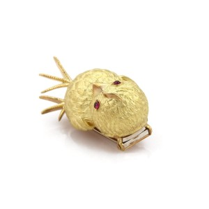 Tiffany & Co. Vintage 18K Yellow Gold with Ruby Bird Brooch