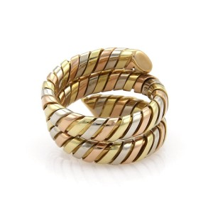 Bulgari Tubogas 18K Yellow Rose and White Gold Wrap Band Ring Size 8.5