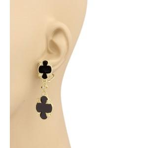 Judith Ripka 14K Yellow Gold with 0.36ctw Diamond and Onyx Dangle Earrings
