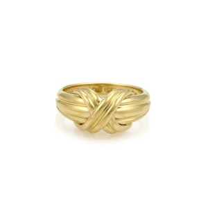 Tiffany & Co. 18K Yellow Gold X Crossover Grooved Ring Size 5