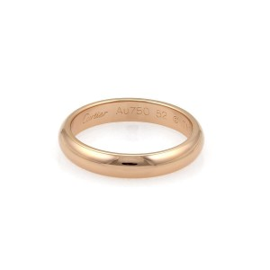 Cartier 18K Rose Gold Dome Wedding Band Ring Size 6