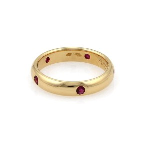 Cartier Stella 18K Yellow Gold with 0.30ctw Ruby Wide Dome Band Ring Size 6.75