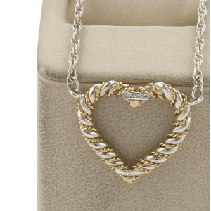 Tiffany & Co. 925 Sterling Silver & 18K Yellow Gold Twisted Heart Pendant Necklace
