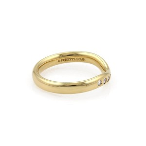 Tiffany & Co. 18K Yellow Gold with Diamond Curved Band Ring Size 5