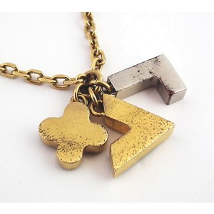 Louis Vuitton Brass with Crystal Pendant Necklace
