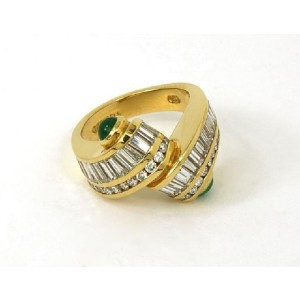 Charles Krypell 18K Yellow Gold with 2.40ctw Diamond and 0.60ctw Emerald Ring Size 6.75