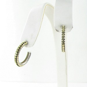 John Hardy Dot 925 Sterling Silver & 18K Yellow Gold Hoop Earrings