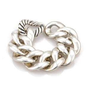 David Yurman 925 Sterling Silver Cordelia Large Curb Link Hefty Bracelet