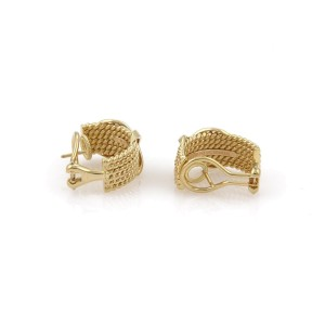 Tiffany & Co. Schlumberger 18K Yellow Gold 6 Rows Rope X Design Earrings