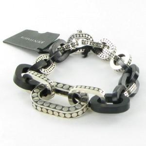 John Hardy Dot Sterling Silver with Ebony Wood Links Bracelet
