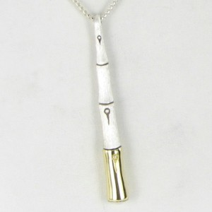 John Hardy Bamboo Brushed 925 Sterling Silver and 18K Yellow Gold Drop Pendant Necklace