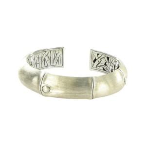 John Hardy Bamboo 925 Sterling Silver Kick Cuff Hinged Bracelet