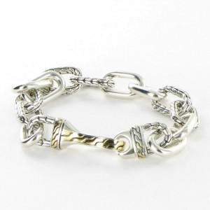 John Hardy Classic 925 Sterling Silver and 18K Yellow Gold Anchor Link Bracelet