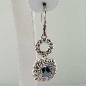 John Hardy Batu Bedeg 925 Sterling Silver with Hematite & 0.42cts Diamond Dangle Earrings