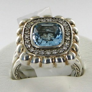 John Hardy Batu Bedeg 925 Sterling Silver with Sky Blue Topaz & 0.23cts Diamond Ring Size 7