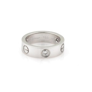 Cartier Love 18K White Gold Diamond Ring Size 5.5