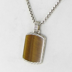 John Hardy Batu Classic 925 Sterling Silver with Tigers Eye Dog Tag Chain Necklace