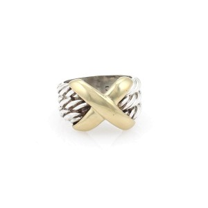 David Yurman 14K Yellow Gold, Sterling Silver Ring Size 3.5
