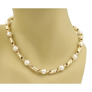 Bvlgari 18K Yellow Gold Cultured Pearl Necklace