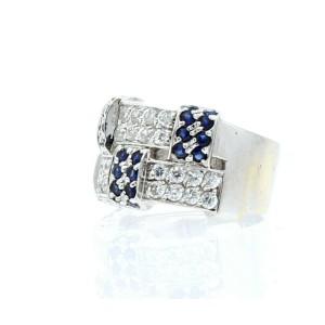 14K WHITE GOLD LADIES CZ BLUE STONE RING SIZE 6.75