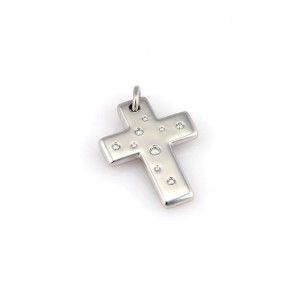 ee8a842a9 18K White Gold Etoile Diamond Cross Designer Pendant | Tiffany & Co. | Buy  at TrueFacet