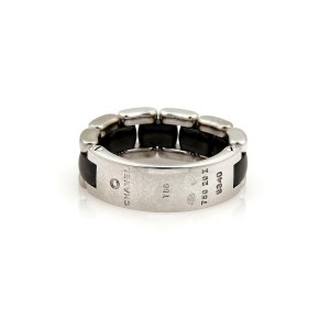 Chanel Ultra 18k White Gold & Black Ceramic Flex Chain Band Ring Size 7.5