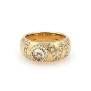 Chopard Happy Diamond 18k Yellow Gold LOVE Dome Band Ring Size 5