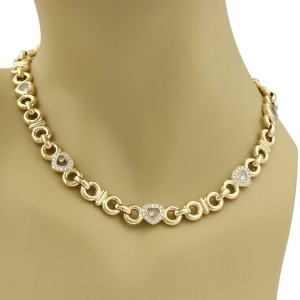 Chopard Happy Diamond 18k Yellow Gold Hearts & Circle Link Collar Necklace