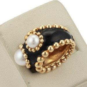 Chanel Pearls & Enamel 18k Yellow Gold Wide Band Ring Size 4.5
