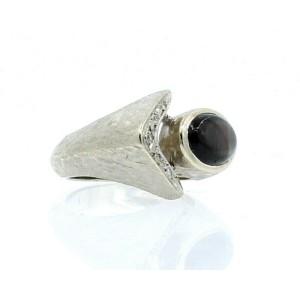 Mens Fine Estate 14K White Gold Cat's Eye Diamond Ring size 6