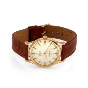 Omega Constellation Automatic 18k Rose Gold Men's Watch Leather Band