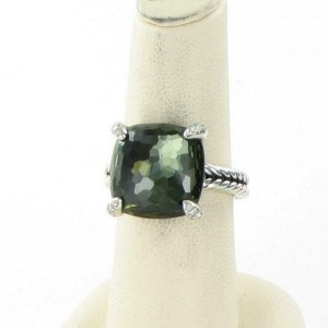 David Yurman Chatelaine Ring 14mm Green Orchid Diamond Sterling Size 7
