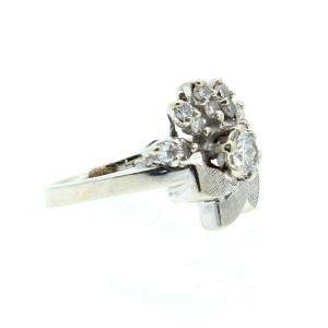 Estate 14k White gold .80ct Diamonds Cocktail Ladies Ring Size 5.5