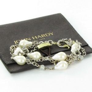 John Hardy Naga 10mm Baroque Pearl Moonstone Bracelet Sterling Silver 18K Gold