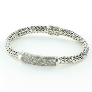 John Hardy Classic Chain White and Grey Diamond Station Bracelet 6.5mm Sterling