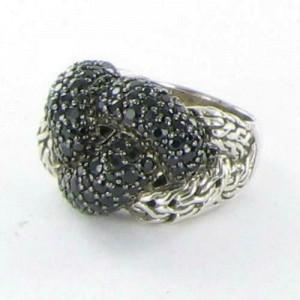 John Hardy Classic Chain Lava Large Braided Black Sapphire Ring Sz 7