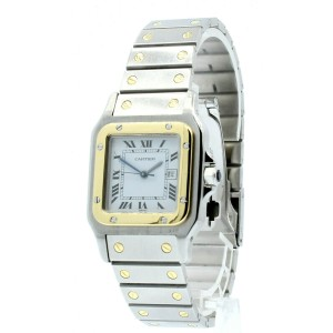 Cartier Santos Stainless Steel Gold Automatic Roman Numeral Men's Watch