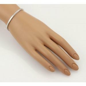 bec33e156a0b5 Cartier Lanieres 18k White Gold 3mm Wide Cube Link Bracelet Size 15 6.5