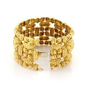 "Estate 18k Yellow Gold 1.75"" Wide Fancy Design Bracelet 170 Grams"