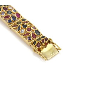 Estate 8 Carats Multicolor Sapphire Ruby 22k Gold Rectangular Link Bracelet