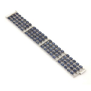 61155 Estate 61ct Sapphire & Diamond 18k White Gold Multi-Strand Wide Bracelet​
