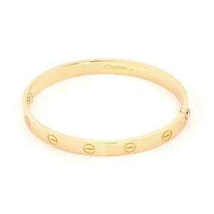 Cartier 18k Yellow Gold Love Bangle Bracelet Size 17 w/Screwdriver & Paper