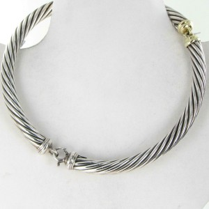 "David Yurman 10mm Hinged Cable Necklace 16"" Sterling 14K Gold Vintage"