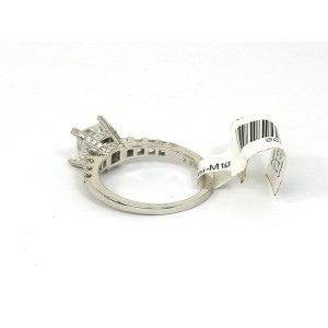 Natalie K. 14K Princess Mounting Only W/Accent Diamond 14k White Gold Ring