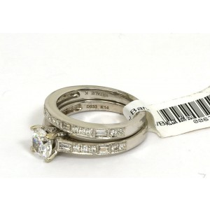 New Natalie K 14k White Gold Mounting 55 pts Diamond Accent Wedding Band & Ring